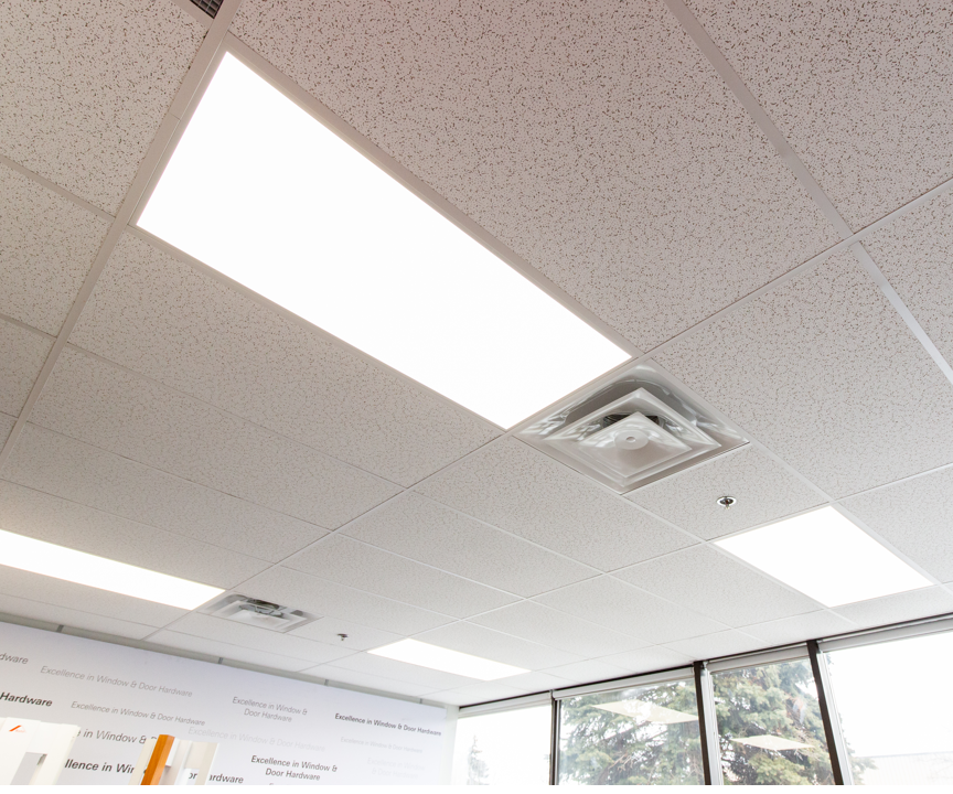 LED flat panel lights in an office